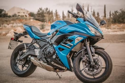 Blue Kawasaki Sport Bike Free Photo