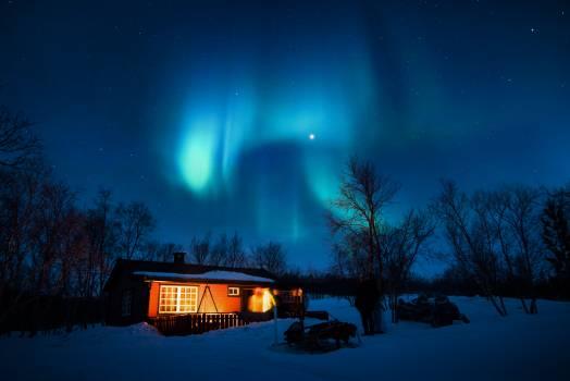 Brown Cottage Under Aurora #33479