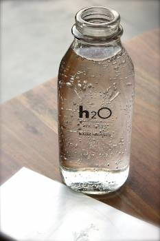 Clear Glass H2o Bottle #33492