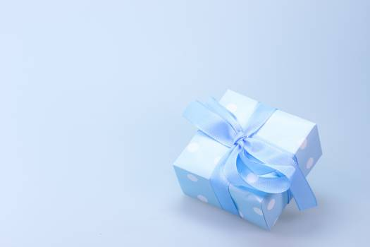 Blue and White Polka Dot Gift Box With Blue Ribbon #33512