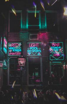 Neon Light Signages On Wall Free Photo
