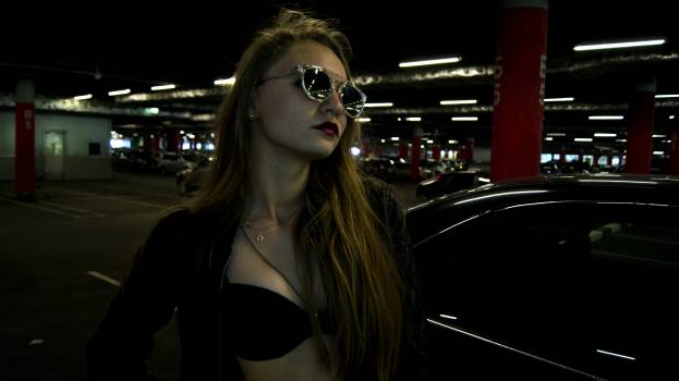 Woman Wearing Black Bra and Black Sunglasses #33539