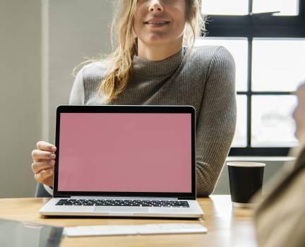 Woman Behind Laptop Computer #335497