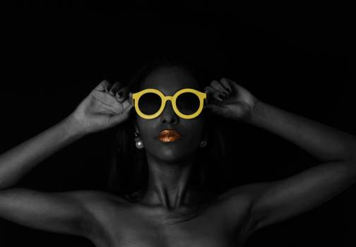 Black Sunglasses With Yellow Frames Free Photo