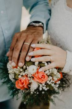 Man and Woman's Hands on Top of Ball Bouquet #335863