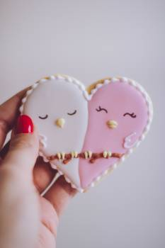 Heart-shaped White and Pink Cookie #335941