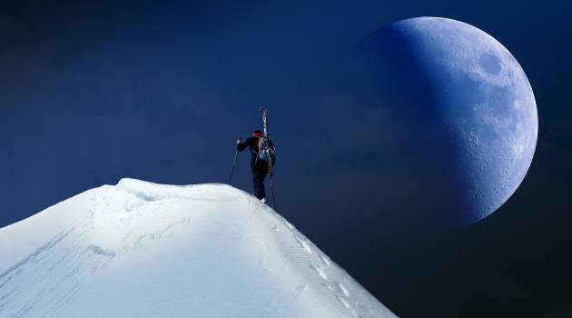 Man Trekking on Mountain Covered With Snow #335951