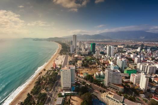 Bird's Eye View Of City Near Ocean Free Photo