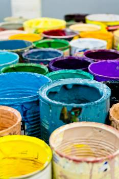 Assorted-color Paint Buckets Free Photo