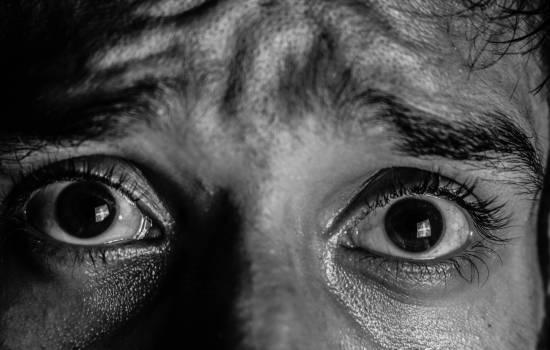 Black and white close up eyeball eyebrow #336485