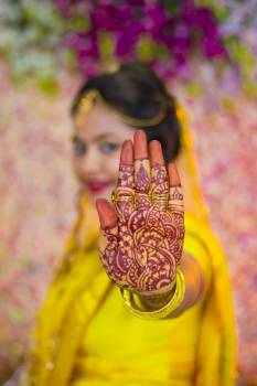 Woman Showing Mehndi Tattoo Free Photo