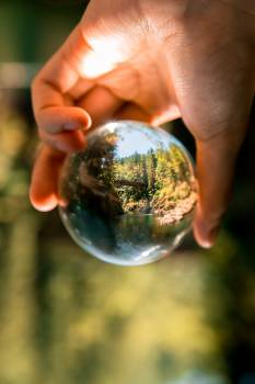 Person Holding Clear Glass Ball Free Photo