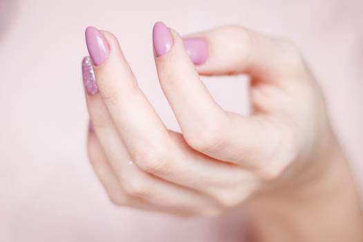 Person's Hand With Pink Manicure #336691
