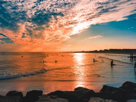 Scenic View Of Ocean During Sunset #337026