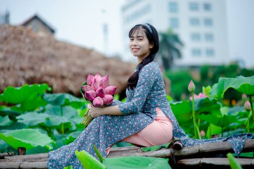 Woman Holding Pink Petaled Flowers Sitting on Brown Wooden Panel #337166