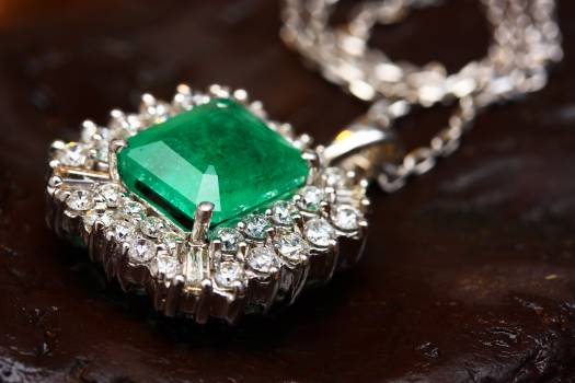 Silver-colored Pendant With Green Gemstone Free Photo