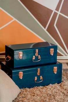 Two Blue Metal Storage Boxes Free Photo