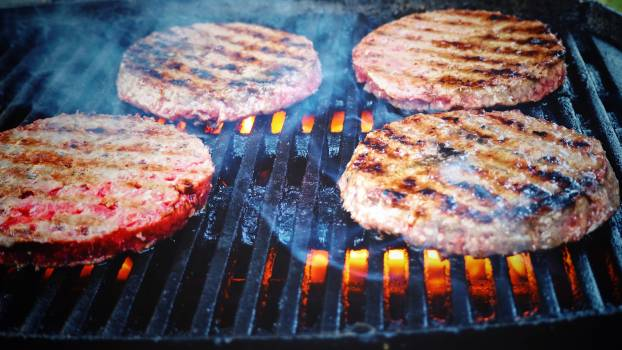 Shallow Focus Photo of Patties on Grill Free Photo