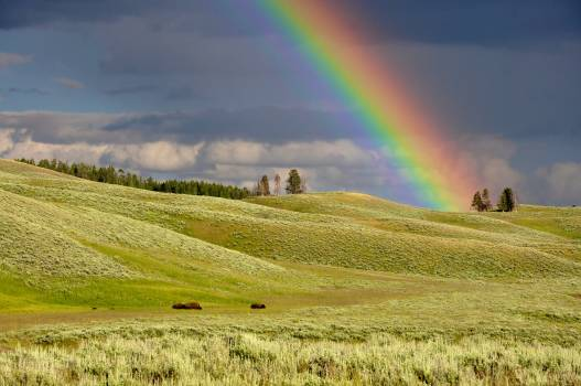 Painting of Landscape With Rainbow Free Photo