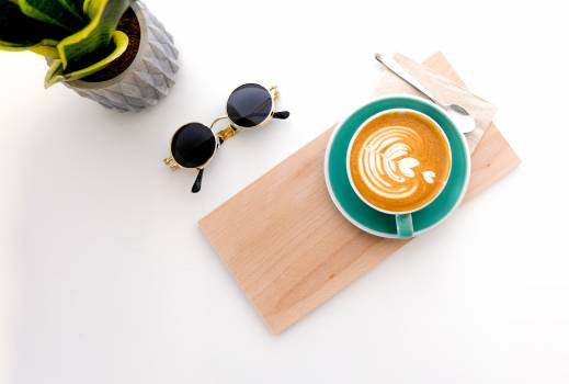 Cup Of Latte On Wooden Tray, #337927