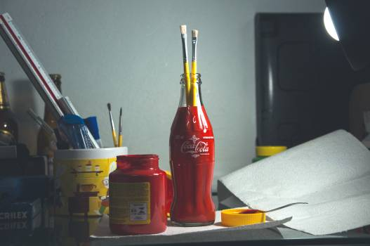 Red Coca Cola Bottle Holding Paintbrushes #33795