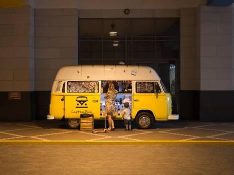 Yellow White Van #33800