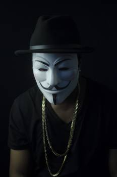 Photo of Man Wearing Guy Fawkes Mask #338078