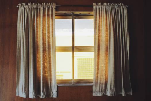 Two White Rod Pocket Curtains Free Photo