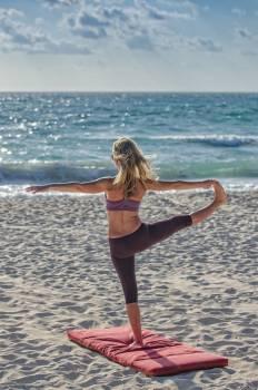 Woman Doing Yuga on Seashore #33814