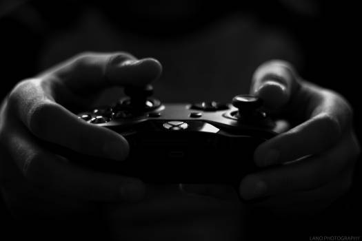 Gray Scale Image of Xbox Game Controller #33842
