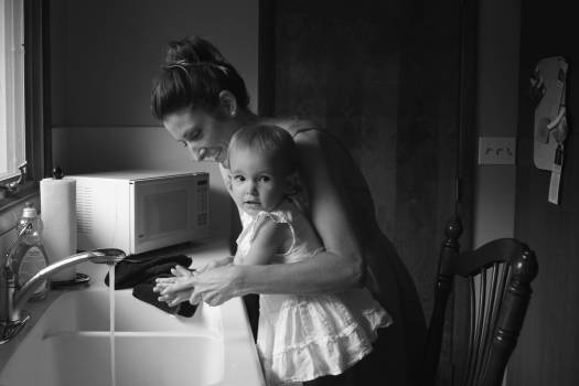 Grayscale Photography of Mother and Child Free Photo