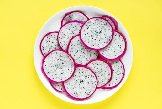 Sliced Dragon Fruit in Round White Bowl Free Photo