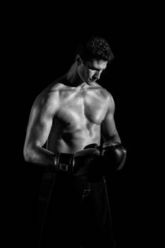 Topless Boxer Greyscale Photography Free Photo