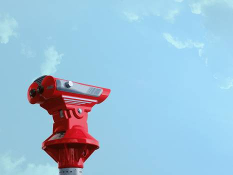 Red Theodolite Under Blue Sky and White Clouds #339148