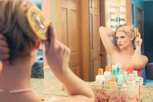 Woman Using Hair Brush #33917