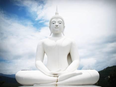 White Concrete Buddha Statue Free Photo
