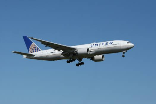 White United Airlines Plane Free Photo