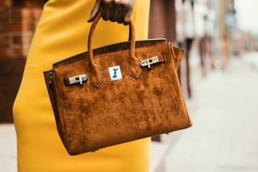 Woman Wearing Brown Leather Tote Bag #340050