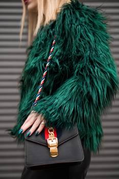 Woman Wearing Green Fur Jacket Free Photo