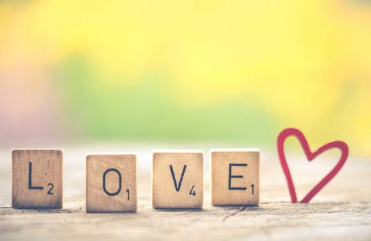 Photo of Scrabble Letter Tiles Forming the Word Love. #340327