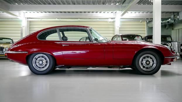 Black Red Classic Car in a Garage #34036