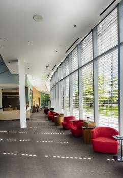 Red Sofa Chairs Beside Glass Wall Inside Building #340446