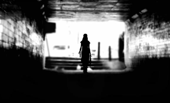 Back of a Woman Silhouette in a Tunnel #34049