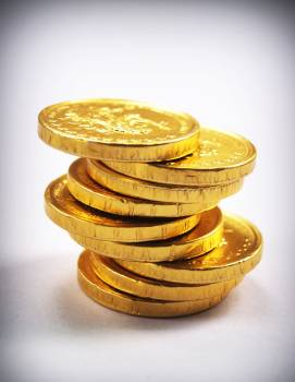 9 Piece of Gold Round Case of Chocolates #340623