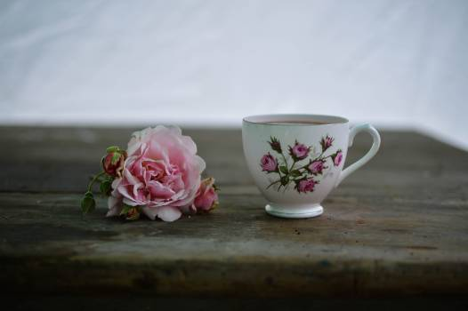 White and Pink Rose Print Ceramic Cup Near Pink Rose on Brown Wooden Table #34082