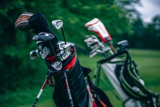 Silver Gold Clubs With Bag Free Photo