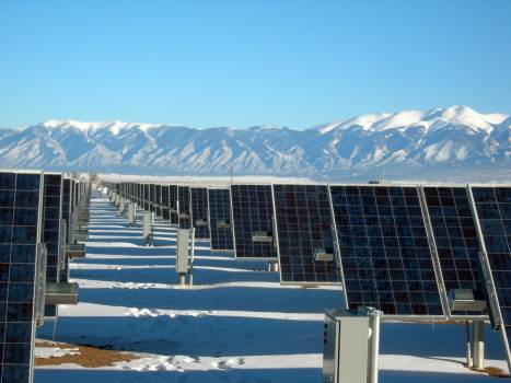 Silver and Black Solar Panels on Snow Covered Ground Free Photo
