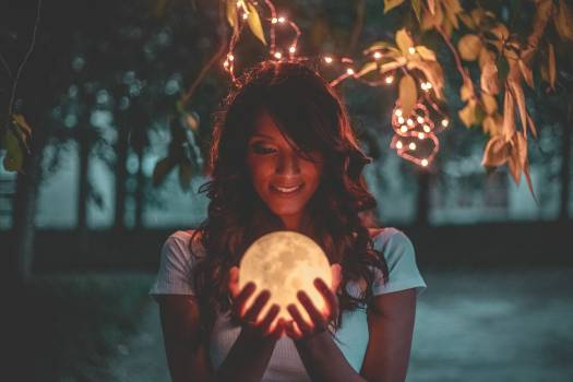 Woman Holding Moon Lamp #341222
