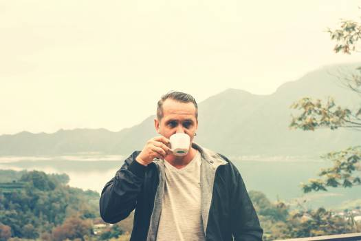 Man Drinking Outdoors Free Photo