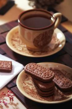 Chocolate Biscuits Beside Chocolate Coffee Free Photo